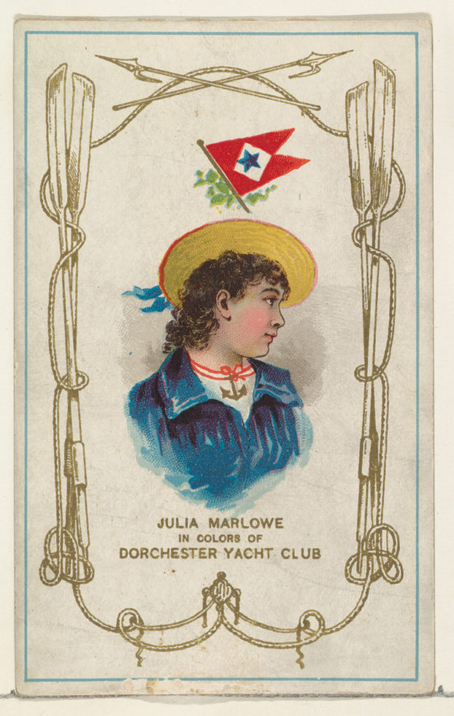 Julia Marlowe in Colors of Dorchester Yacht Club, from the Yacht Colors of the World series (N140) issued by Duke Sons & Co. to promote Honest Long Cut Tobacco