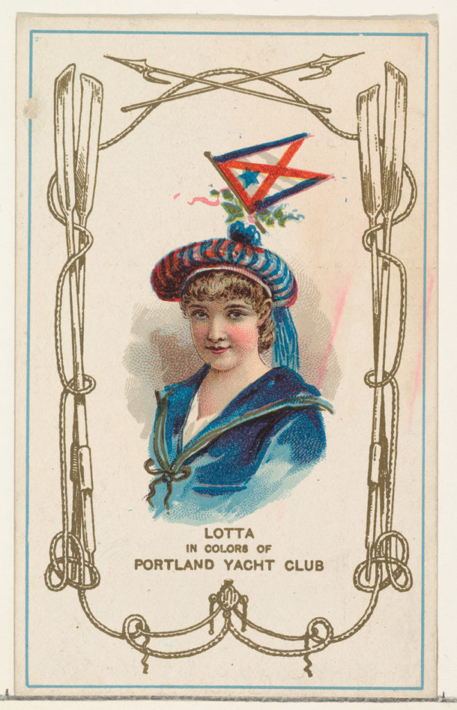 Lotta in Colors of Portland Yacht Club, from the Yacht Colors of the World series (N140) issued by Duke Sons & Co. to promote Honest Long Cut Tobacco
