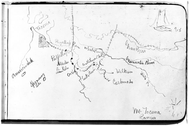 Map of Region Northwest of Mount Tacoma (from Sketchbook)