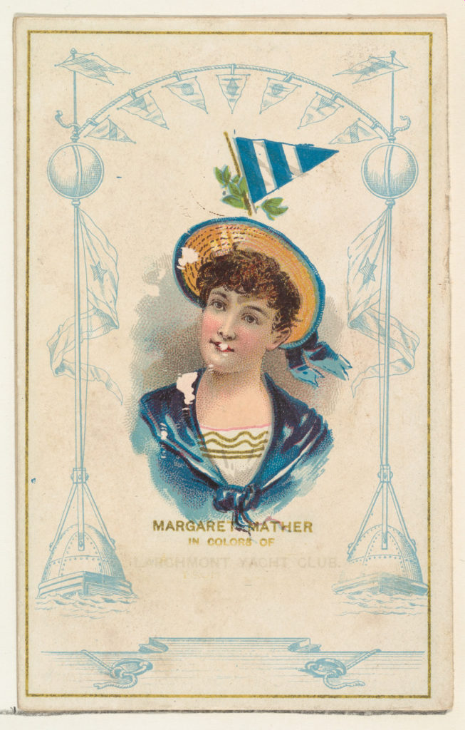 Margaret Mather in Colors of the Larchmont Yacht Club, from the Yacht Colors of the World series (N140) issued by Duke Sons & Co. to promote Honest Long Cut Tobacco