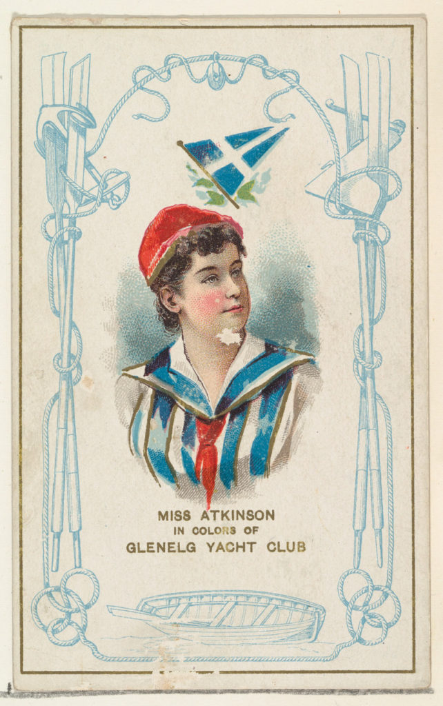 Miss Atkinson in Colors of Glenelg Yacht Club, from the Yacht Colors of the World series (N140) issued by Duke Sons & Co. to promote Honest Long Cut Tobacco