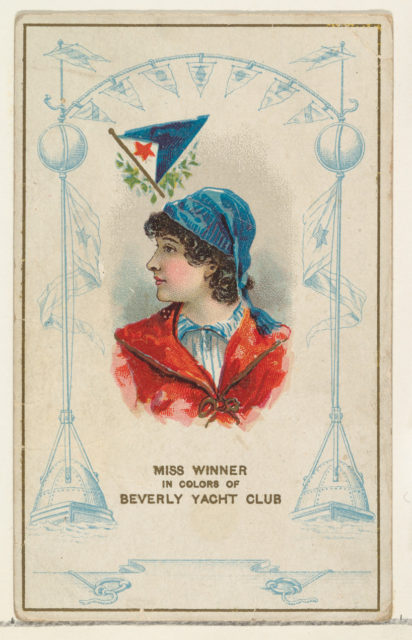 Miss Winner in Colors of Beverly Yacht Club, from the Yacht Colors of the World series (N140) issued by Duke Sons & Co. to promote Honest Long Cut Tobacco