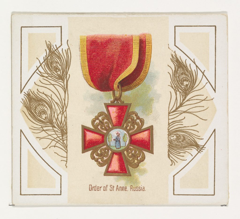 Order of Saint Anne, Russia, from the World's Decorations series (N44) for Allen & Ginter Cigarettes
