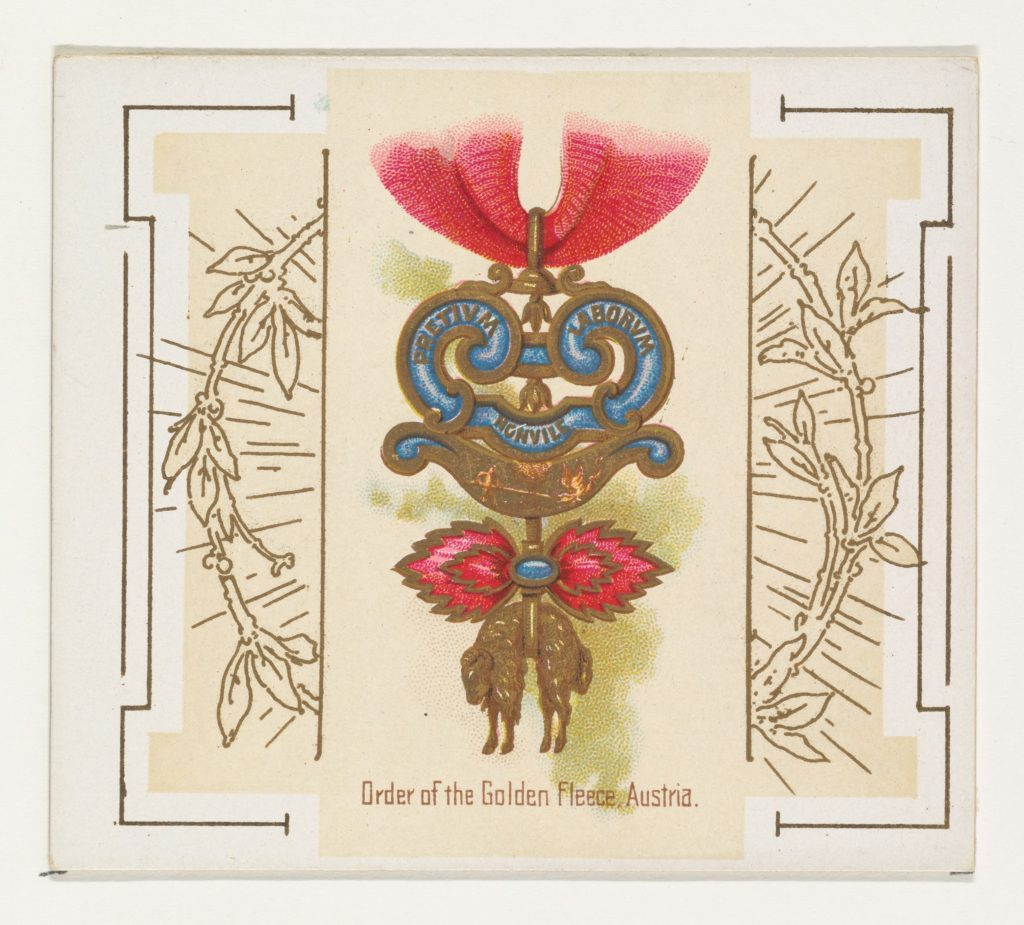 Order of the Golden Fleece, Austria, from the World's Decorations series (N44) for Allen & Ginter Cigarettes