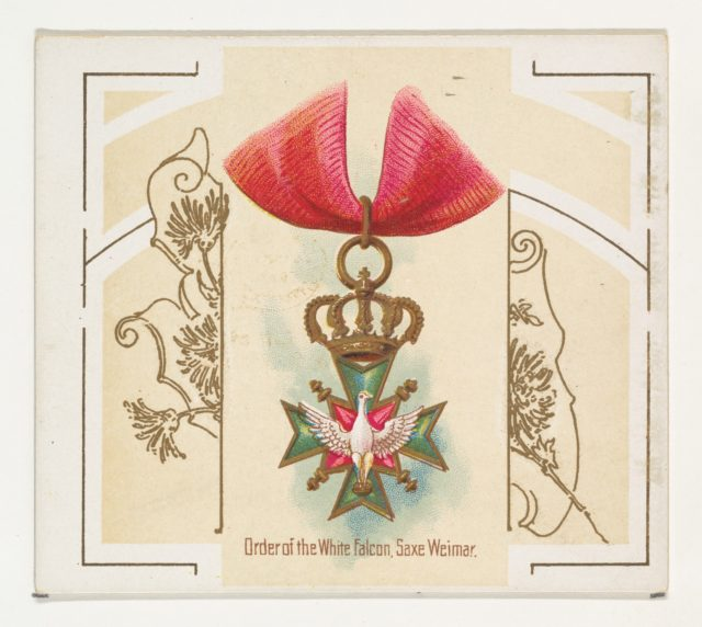Order of the White Falcon, Saxe Weimar, from the World's Decorations series (N44) for Allen & Ginter Cigarettes