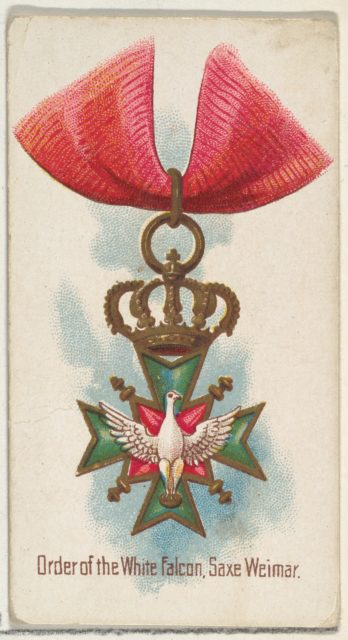 Order of the White Falcon, Saxe Weimar, from the World's Decorations series (N30) for Allen & Ginter Cigarettes