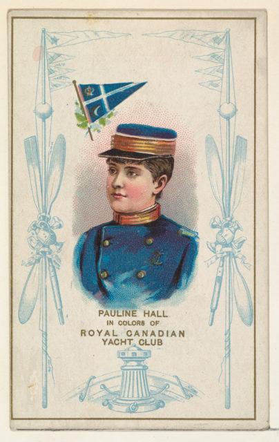 Pauline Hall in Colors of Royal Canadian Yacht Club, from the Yacht Colors of the World series (N140) issued by Duke Sons & Co. to promote Honest Long Cut Tobacco