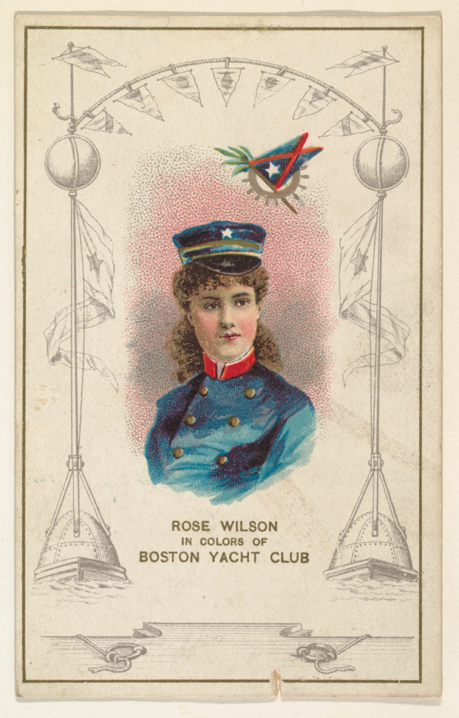 Rose Wilson in Colors of the Boston Yacht Club, from the Yacht Colors of the World series (N140) issued by Duke Sons & Co. to promote Honest Long Cut Tobacco