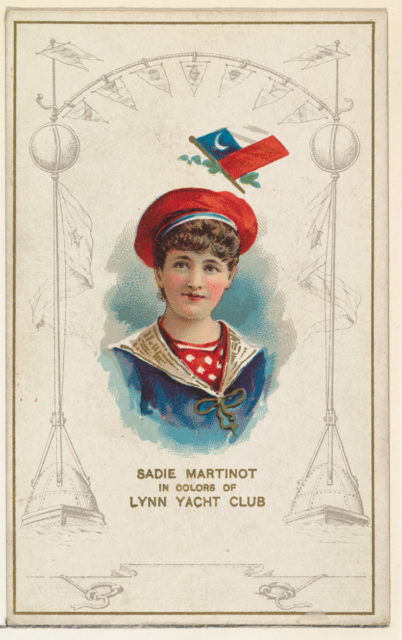 Sadie Martinot in Colors of Lynn Yacht Club, from the Yacht Colors of the World series (N140) issued by Duke Sons & Co. to promote Honest Long Cut Tobacco