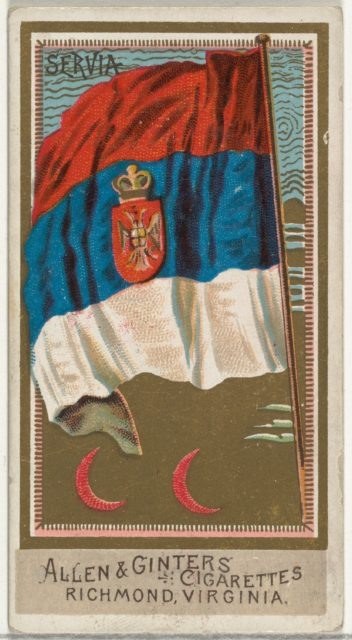 Serbia, from Flags of All Nations, Series 2 (N10) for Allen & Ginter Cigarettes Brands