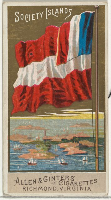 Society Islands, from Flags of All Nations, Series 2 (N10) for Allen & Ginter Cigarettes Brands