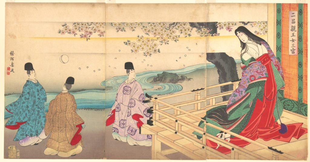 "The Third Princess and Kashiwagi, from Chapter 34, ""New Herbs I (Wakana I)"" (Nihon shinnō onna sannomiya)"