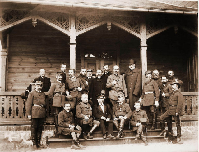 A group of officials, Members of the imperial family in Spala. 1890.