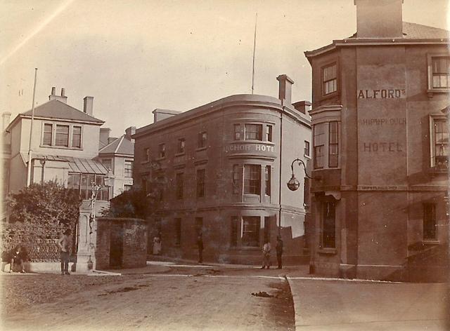 Anchor Hotel and Ship & Plough Hotel, Kingsbridge, Devon c. 1890