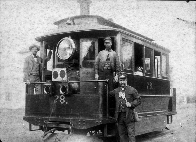 "Baldwin steam tram 78 ""The last tram from Leichhardt to Parramatta"". ""Cowcatcher"" attached to front, c. 1890 / unknown photographer"