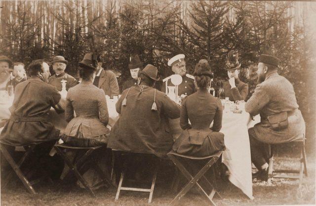 Emperor Alexander III and Empress Maria Feodorovna on the Spala hunting dinner