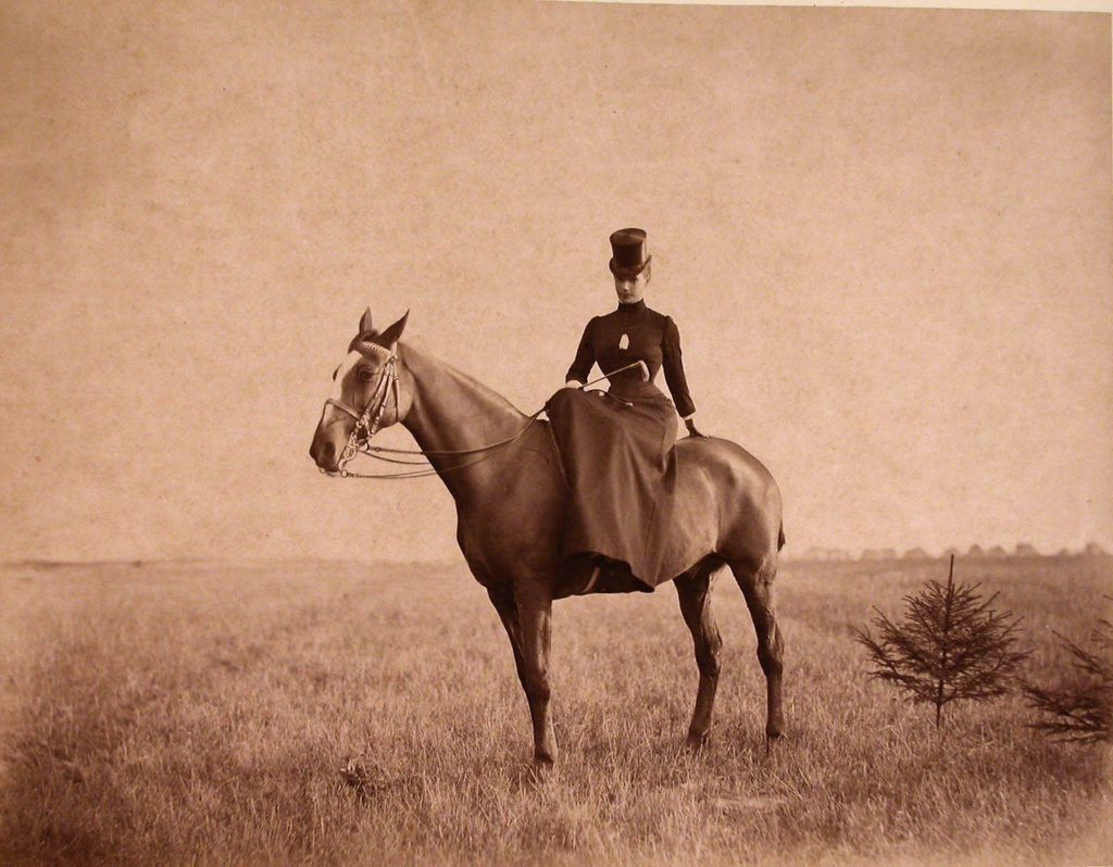 Empress Maria Feodorovna while riding a horse.