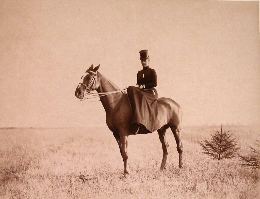 Empress Maria Feodorovna while riding a horse.