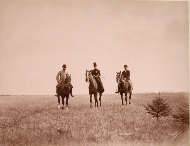 Empress Maria Feodorovna while riding a horse. Members of the imperial family in Spala. 1890