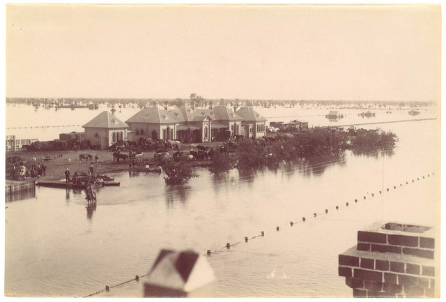 Flood, Railway Station, Bourke, 1890