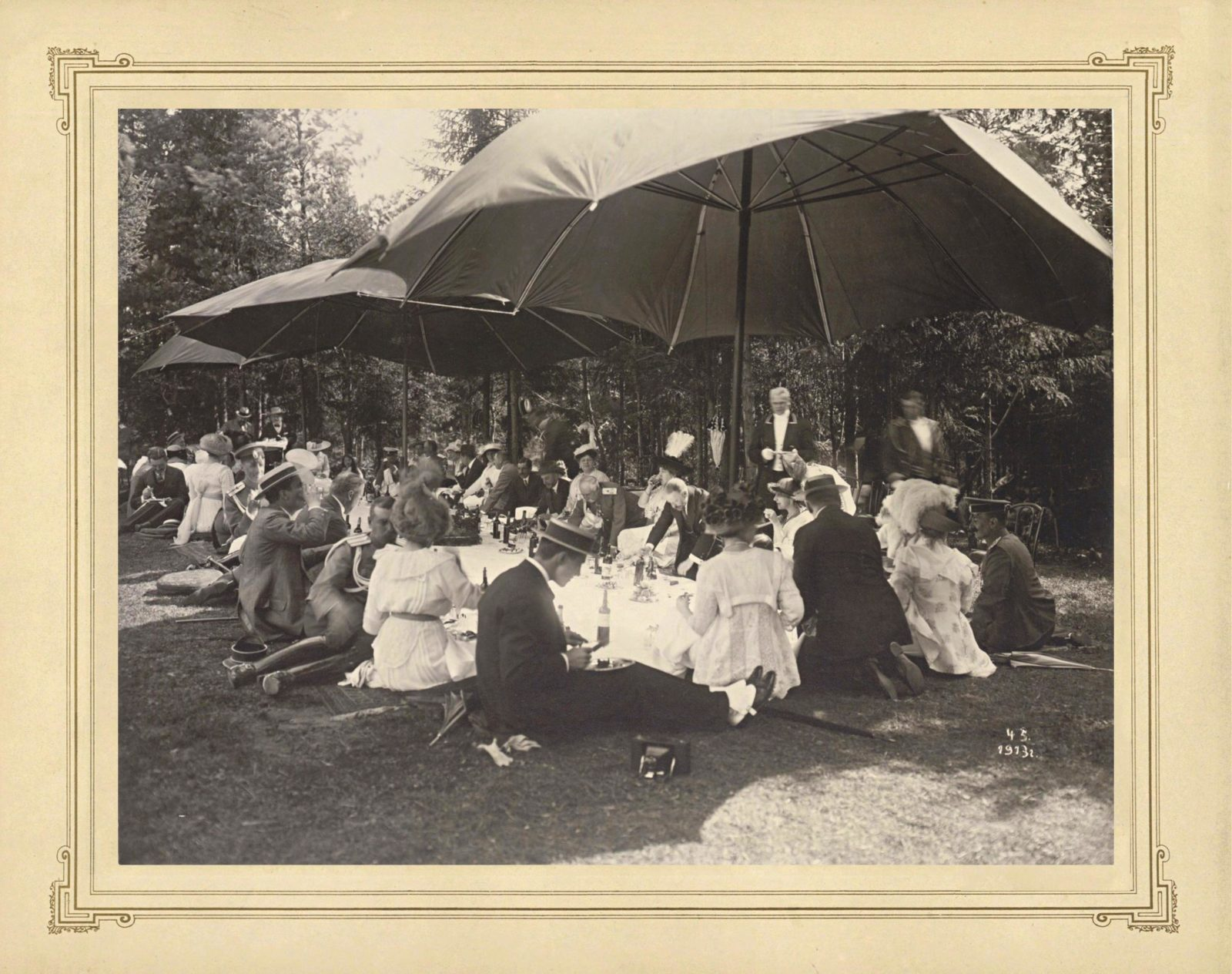 Grand Duchess Maria Pavlovna among the participants of a picnic. Nicholas II with his family members, hunting.