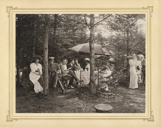 Grand Duke Dmitry among participants of a picnic with Nicholas II with his family members, hunting picnic.