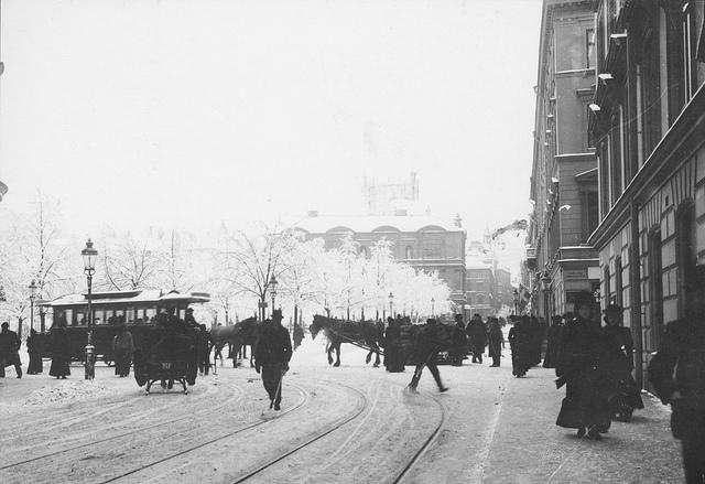 Horse tram in Kungsträdgården, Stockholm about 1890