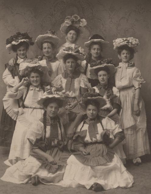 Portrait of ten women in costume, date unknown