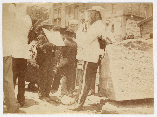 Small band playing in street from Sydney, 1890 / photographed by Arthur K. Syer
