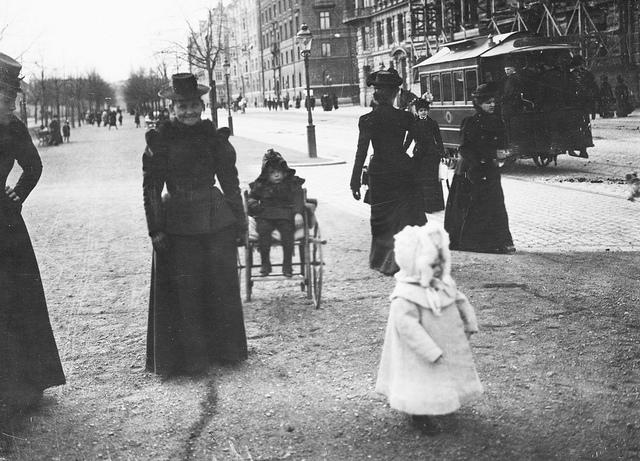 Women and children on Strandvägen in Stockholm around 1890. Horse drawn tram in the background