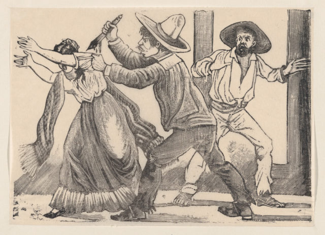 A man grabbing a woman by her sleeve and stabbing her, from a broadside entitled 'The murder of Leandra Martinez by her brother, Manuel'