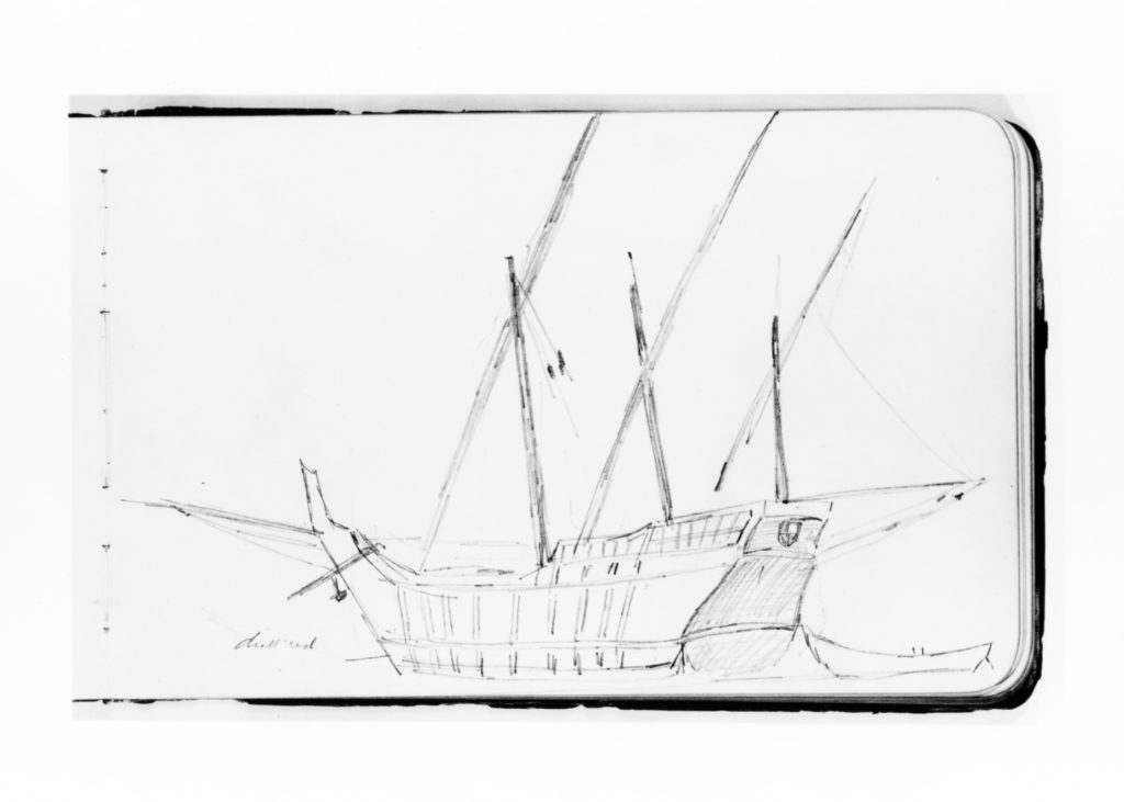 Ship Study for the Landing of Columbus (from Sketchbook)