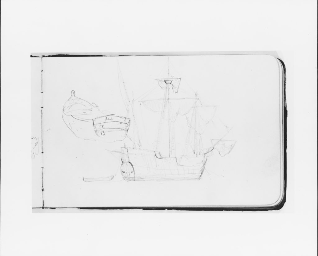 Study of a Ship and Rowboat (from Sketchbook)