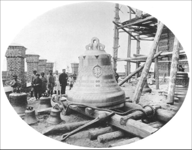A large bell and small bells of a new church. Sura on the Sura River. Archangel region, 1891