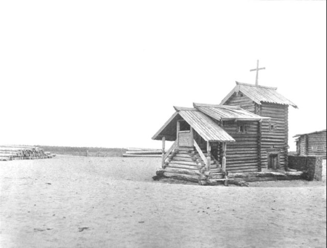 Chapel of Martyr Paraskeva. The place where Father John was born. Sura on the Sura River. Archangel region, 1891