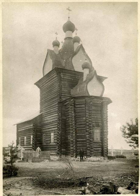Church of St. Nicholas, 17th century. The village of Sura on the Sura River. Archangel region, 1891