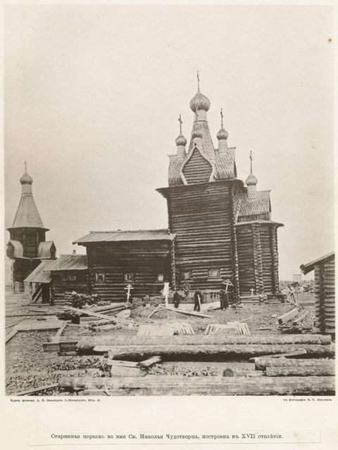 Wooden Church of St. Nicholas, 17th century. The village of Sura on the Sura River. Archangel region, 1891