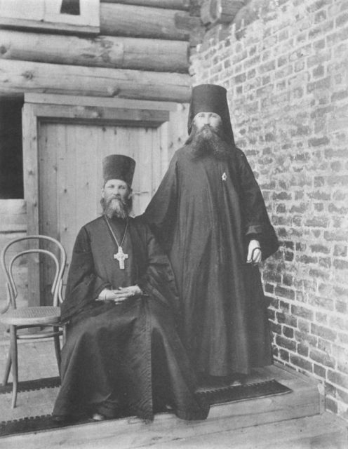 Father John and Hieromonk Gennady Zadne-Nikiforovskoy desert. Sura on the Sura River. Archangel region, 1891