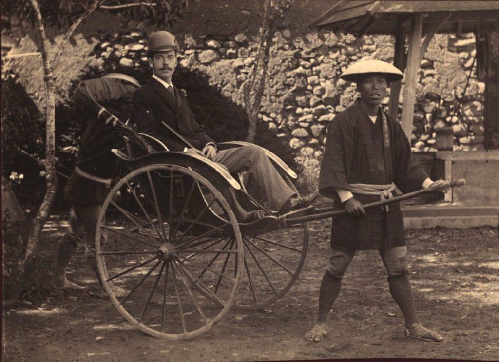Heir Cesarevich Nicholas II in a rickshaw. Nagasaki. 1891. - Nicolas II Asia Tour