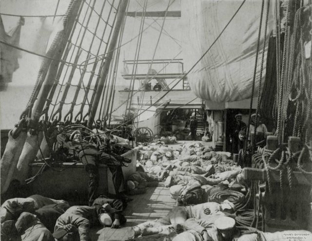 """On the deck of the armored cruiser """"Memory of Azov""""."""