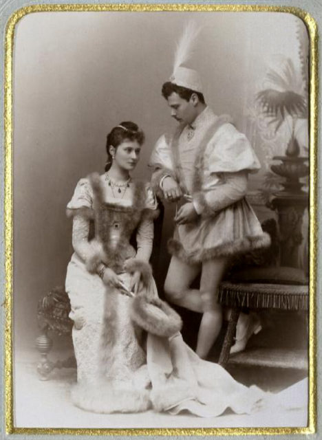 Princess Alix of Hesse with  her brother Ernst Ludwig. 1891.