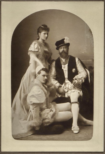 Princess Alix of Hesse with her father Louis IV  Grand Duke of Hesse and by Rhine  and brother Ernest Louis. 1891.