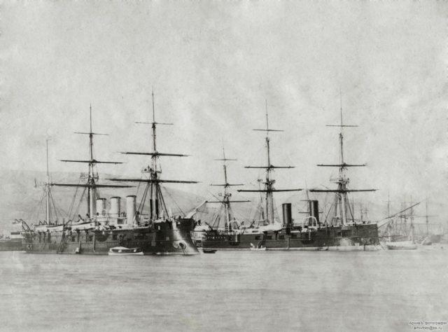 "Russian ships - the frigates ""Memory of Azov"", ""Vladimir Monomakh"" and the gunboat ""Zaporozhets"""
