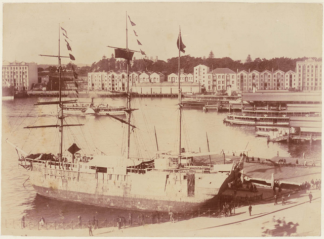 `Success' fake convict ship at Circular Quay, Sydney, 1891, by unknown photographer