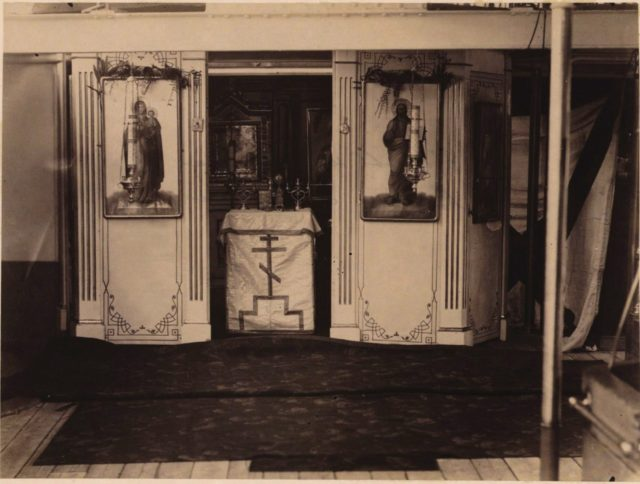 The cruiser Vladimir Monomakh. Chapel. Nicolas II Asia Tour