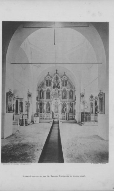 New church interior -  village of Sura on the Sura River. Archangel region, 1891