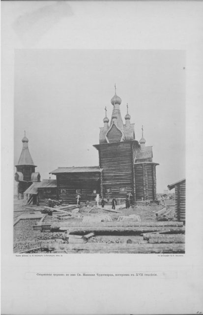 The church of Nicholas the Wonderworker in Sura on the Sura River. Archangel region, 1891