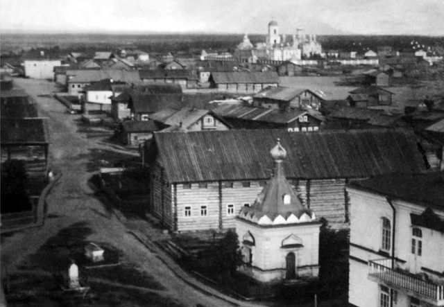 View from St. Nicholas Church. The village of Sura on the Sura River. Archangel region, 1891