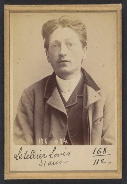 Letellier. Louis, Auguste. 29 ans, né à Rouen (Seine-Inférieure). Employé. Anarchiste. 23/4/92.
