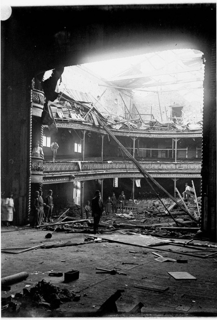 Theatre Royal destroyed by fire during Mrs Bernard Beere's season, Sydney, 1892 / photographer Albert James Perier